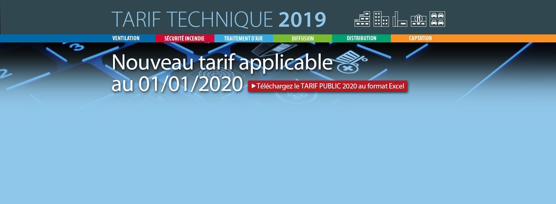 Téléchargez le Tarif Public 2020 sous Excel